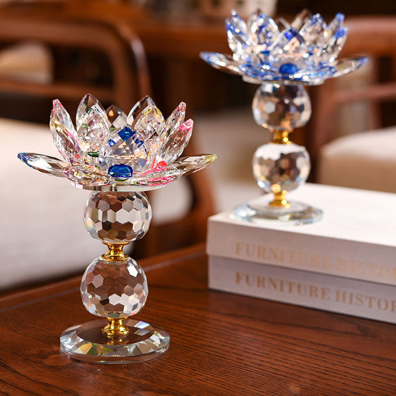 7 colors Crystal Glass Lotus Flower Metal Candle Holders Feng Shui Home Decor Big Tealight Candle Stand Holder Candlestick Decor