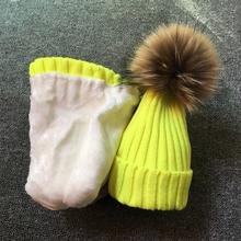 2017 Children Real Raccoon Fur Ball hats Plus velvet Winter Hat Cap For Kids Boy Girl Warm Fur Pom Poms Ski Hat Fur Pompoms Hat