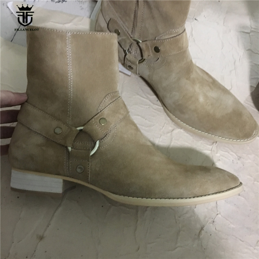New Exclusive Handmade Beige Cow Suede Leather High Top Ankle Strap Wedge Men Boots Real Picture Denim Street Chelsea Boots цена и фото