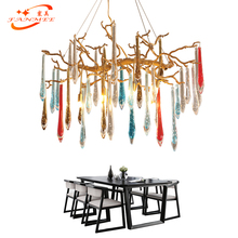 Modern Copper Chandelier Lamp Colored Glass Drop Brass Chandelier Lighting LED Pendant Hanging Light Crystal Chandelier Light newly free shipping 100 240v romantic brass chandelier copper chandelier pendant k9 golden crystal penadnt lamp 100