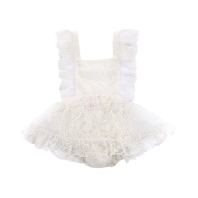 Beige White New Style Newborn Baby Girls Clothes Sleeveless Strap Floral Lace Romper Dress Sundress Summer Baby Clothing