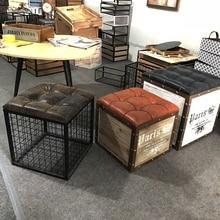 Северной европейский и американский стиль гостиной квадратный, из кованого железа Подставка для хранения сиденье стула скамейки хранения изменение обуви стул железа