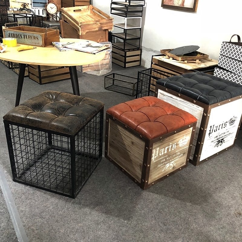 North European and American style living room square wrought iron storage stool seat stool storage bench change shoe stool iron free shipping dining stool bathroom chair wrought iron seat soft pu cushion living room furniture