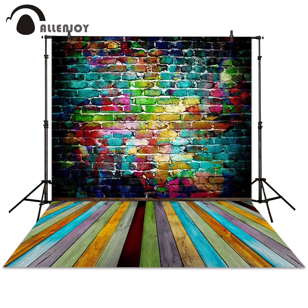 Allenjoy backgrounds photography brick wall colorful wooden floor board backdrops photocall photographic photo studio