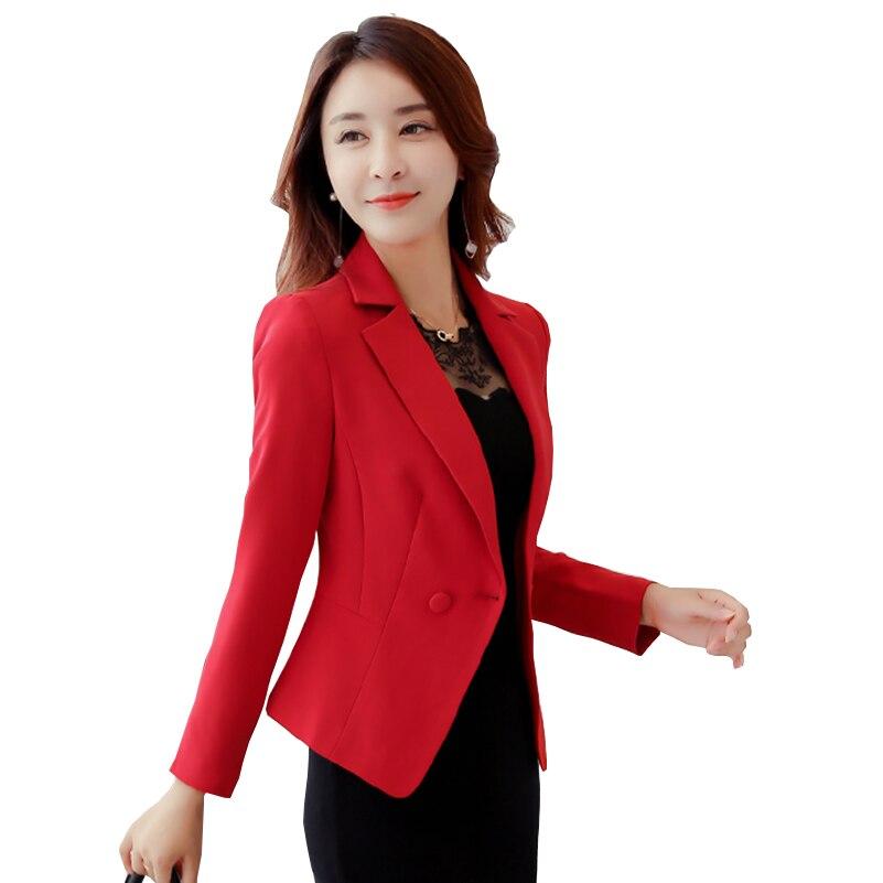 Signore Breve Giacche e Cappotti Più Il Formato Lavoro D'ufficio Manica Lunga Piccolo Rosso Vestito Aderente Blazer Giubbotti Donne Cappotto Formale femminile