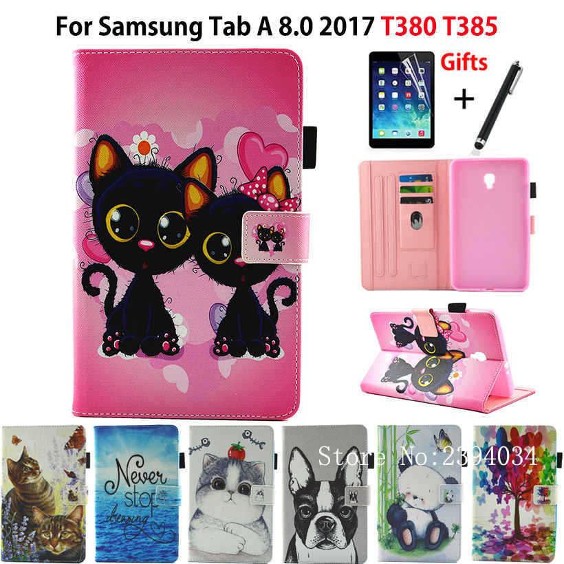 Fashion Animal Flip PU Leather Case For Samsung Galaxy Tab A 8.0 T380 T385 2017 8.0 inch Smart Cover Cases Funda Shell+Film+Pen