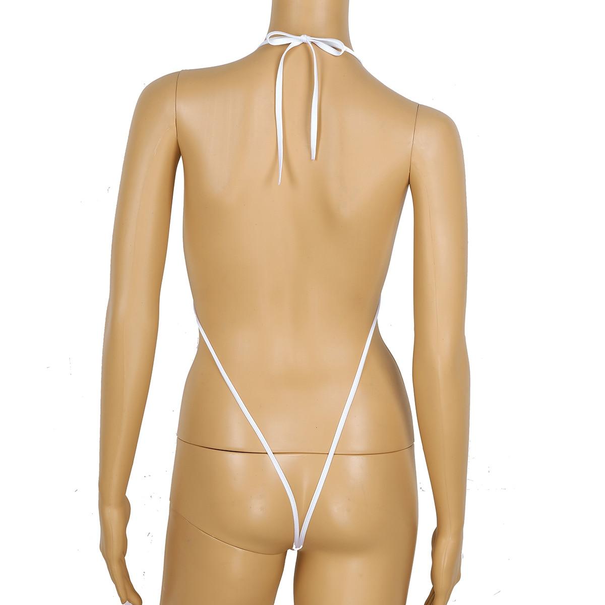 TiaoBug Women Cute Strawberry Pattern Hot Sexy Bikini Set Lingerie Halter Mini Micro Bra Tops with G-String Swimsuit Beachwear 4