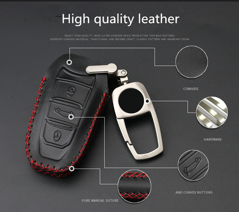 car key pack cover auto key case keychain Accessor For Peugeot 301 308 408 2014 508 2008 3085 2015 3008 307 2017