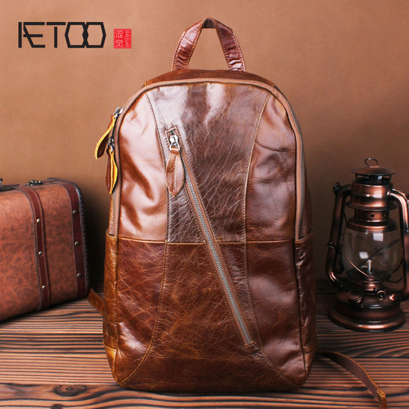 AETOO Oil wax leather shoulder bag leather male retro manual business casual backpack 15 inch computer bag travel bag men waterproof oil wax canvas bag retro casual male bag satchel business men s large capacity computer package
