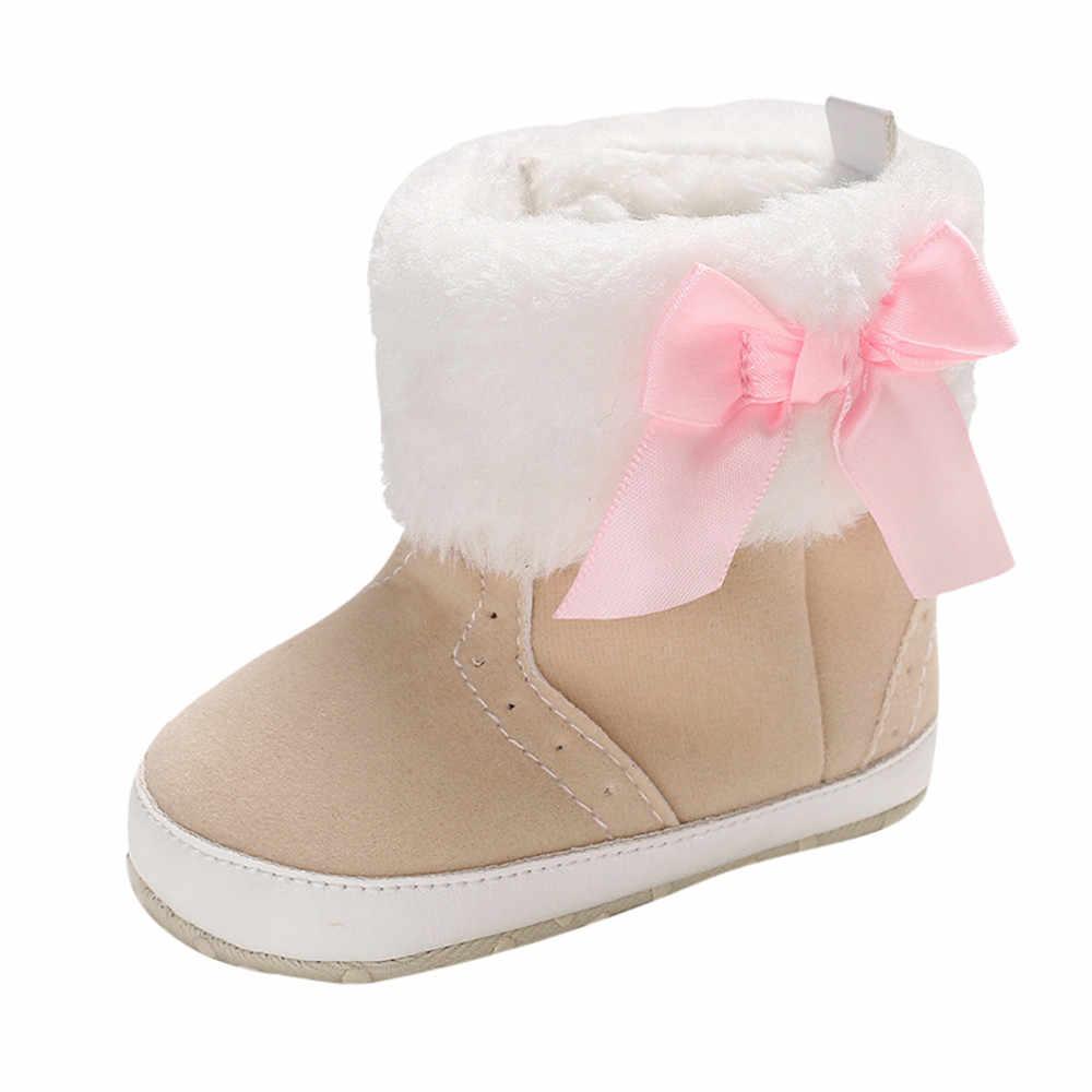 Bebek Kız Yumuşak Patik Yay Saf Renk Yüksek Gang Kar Botları Toddler sıcak ayakkabı