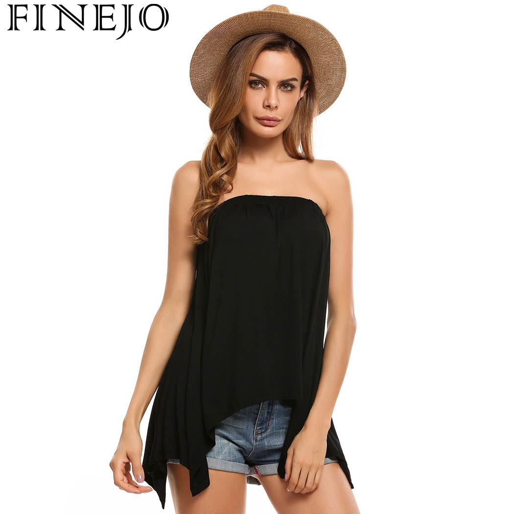 3fb453a9de FINEJOWomen Casual Sleeveless Slash Neck Strapless Loose Fit Asymmetrical  Hem Solid Shirt Tube Top Spring2018Camiseta Tops Blusa-in T-Shirts from  Women s ...