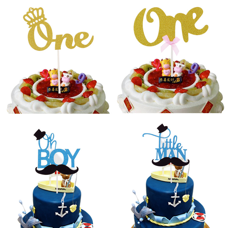 Cake Flags Oh Boy Little Man Cake Toppers Bowtie Crown One Birthday Cake Flag Gentleman Hat Mustche Baby Shower Party Cake Decor