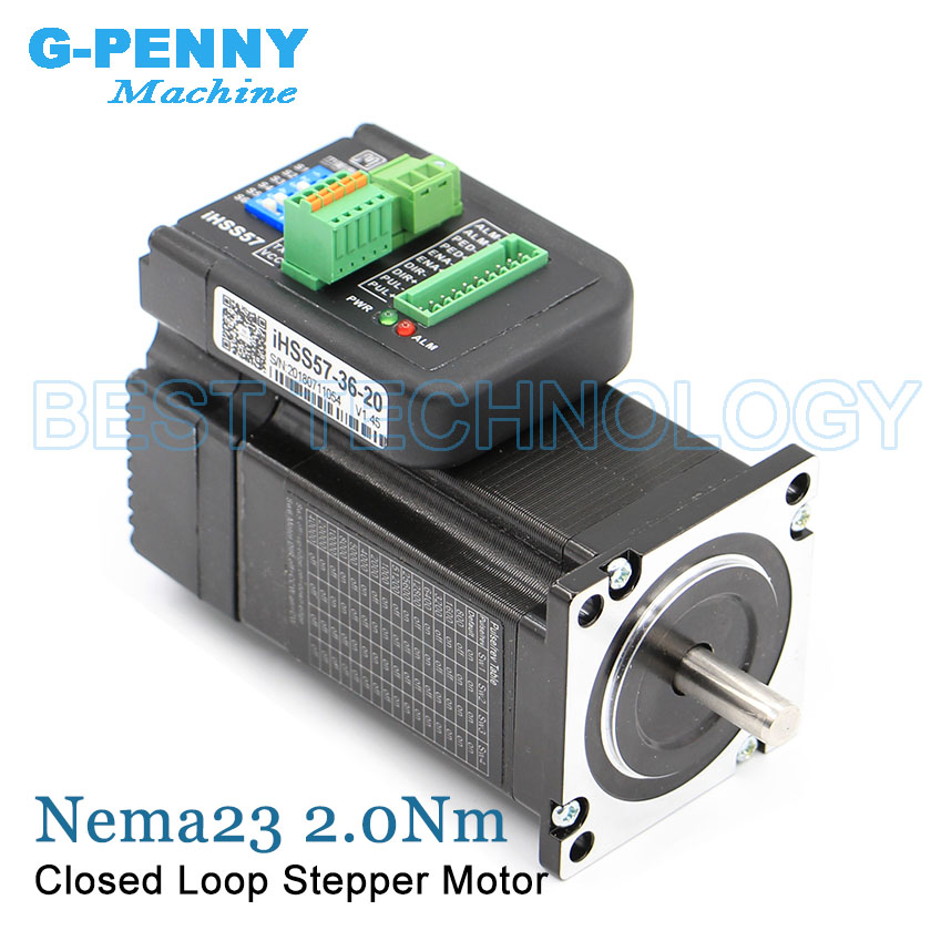 Closed Loop stepper motor Nema23 2.0Nm 285Oz-in 5.0A Integrated Stepper Servo Motor with Driver 57x76mm 36v Hybrid servo stepper nema23 2nm 283oz in integrated closed loop stepper motor with driver 36vdc jmc ihss57 36 20
