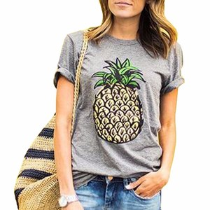 Fashion Summer Girl 3Colors Plus Size O-Neck Short Sleeve Solid Pineapple Printing Casual T-Shirt Women's Clothing Street Shoot
