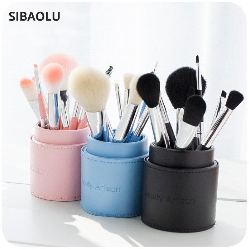SIBAOLU 1 ST 6 Kleur Reizen Opbergdoos Lederen Make Borstel Organizer - Home opslag en organisatie