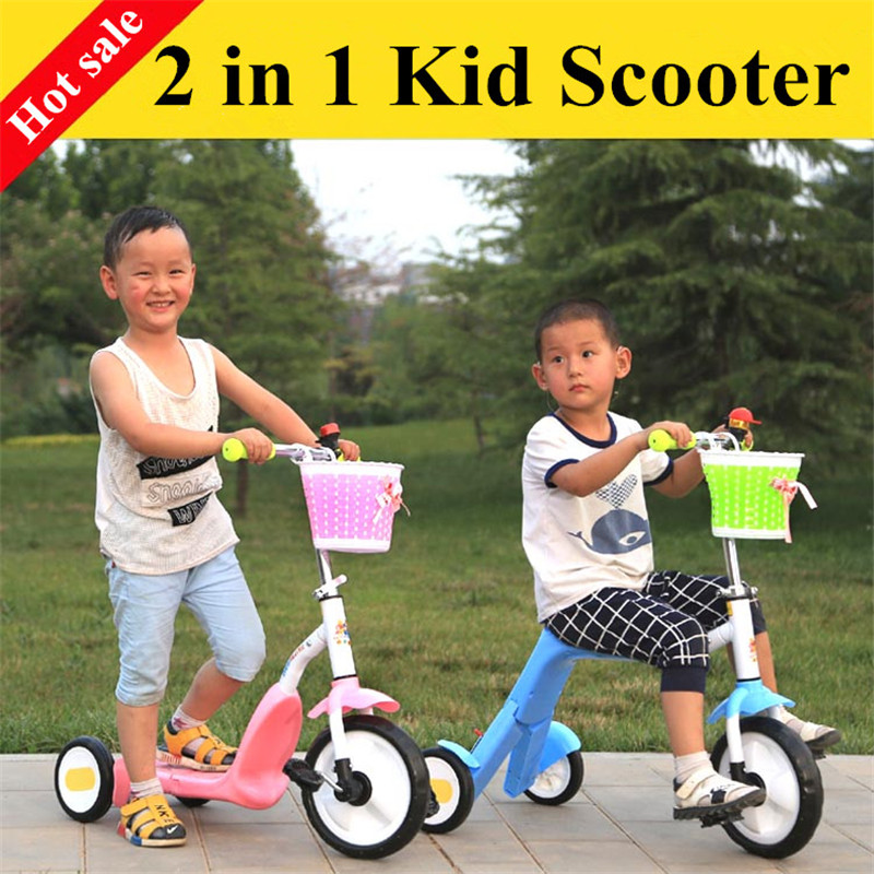 2 in 1 kid scooter ride modle and scooter model with carbon alloy steel 3 wheels scooter tricycle