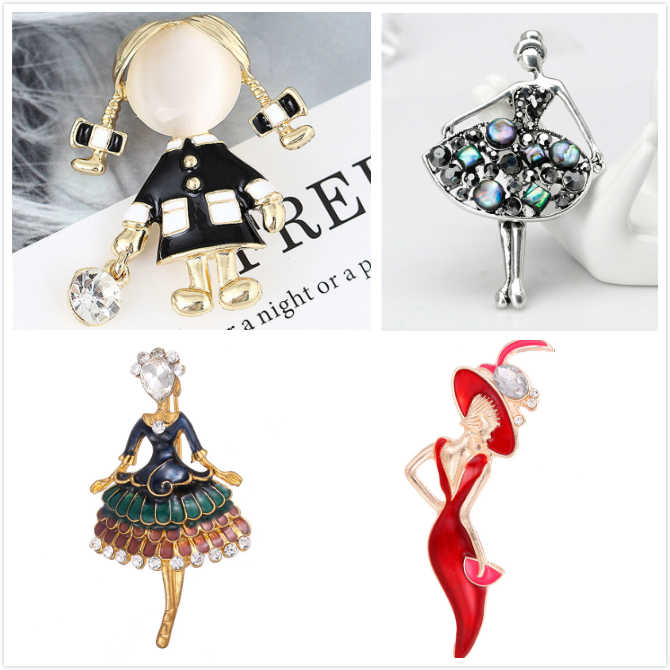 1Pcs Girl Fashion Glamour Beautiful Princess Ballerina Brooch Crystal Pin Jewelry Accessories