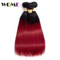 Wome Burgundy Bundles 3 Pcs Ombre Brazilian Straight Human Hair Weave Dark Roots Ombre Wine Red Bundles Brazilian Hair Weaving
