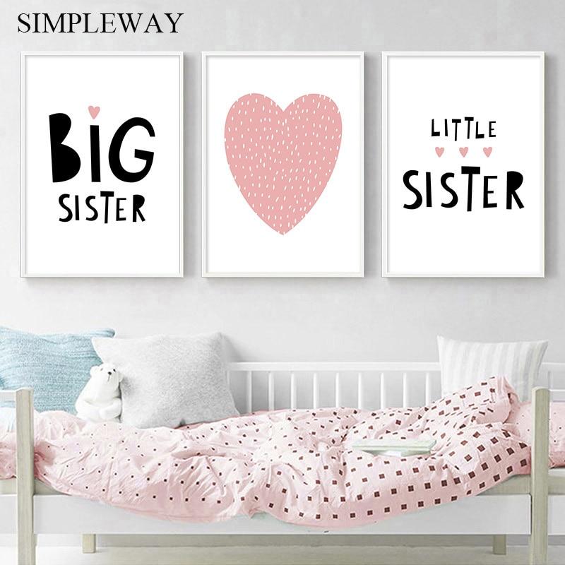 Розовое сердце большая сестра цитаты стена искусство печать на холсте картина в скандинавском стиле фотография детская девочка Декор для с...