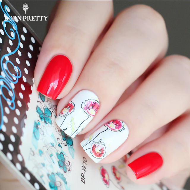 BORN PRETTY Chic Flower Nail Art Water Decals Transfer Stickers ...