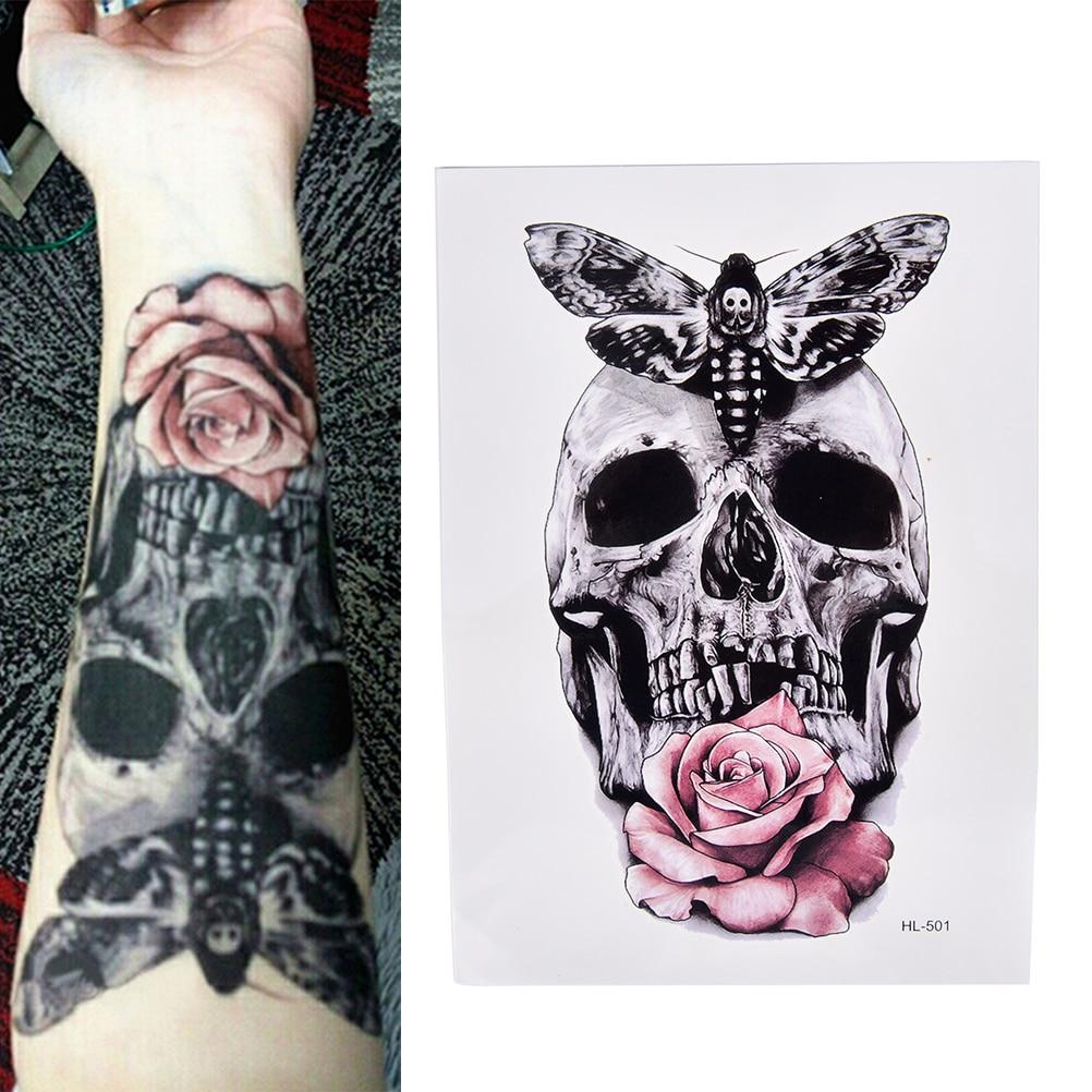 Водостойкие временные тату-наклейки с черепом с молью и цветком, 21 х15 см