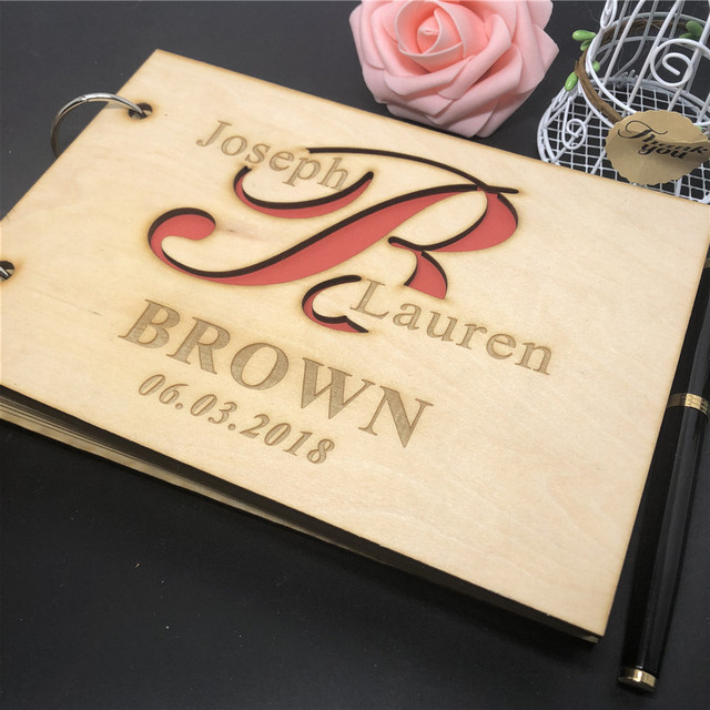 Personalized Laser cut Wooden Guest Book, Wooden Wedding book