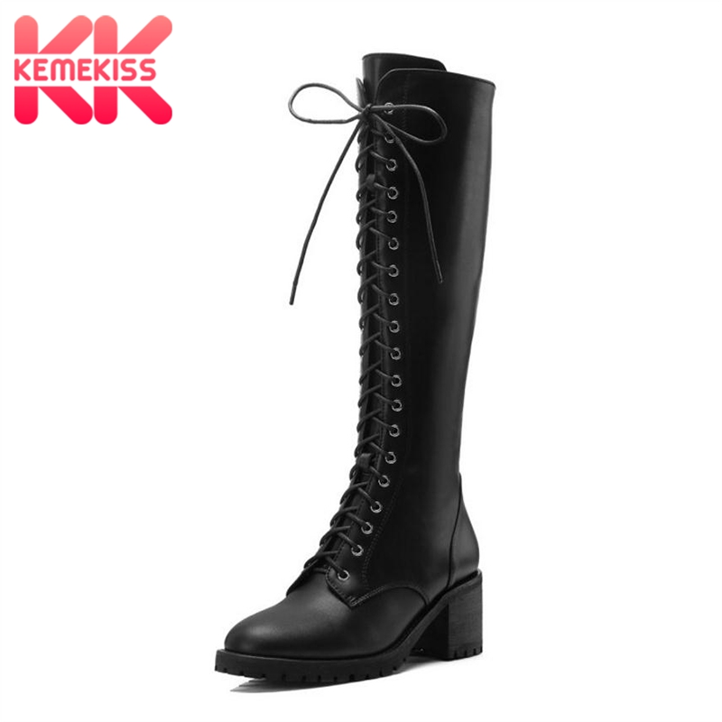KemeKiss Women High Heels Boots Real Leather Woman Shoes Thick Heels Cross Strap Knee Boots Fashion Warm Long Boots Size 34-39KemeKiss Women High Heels Boots Real Leather Woman Shoes Thick Heels Cross Strap Knee Boots Fashion Warm Long Boots Size 34-39