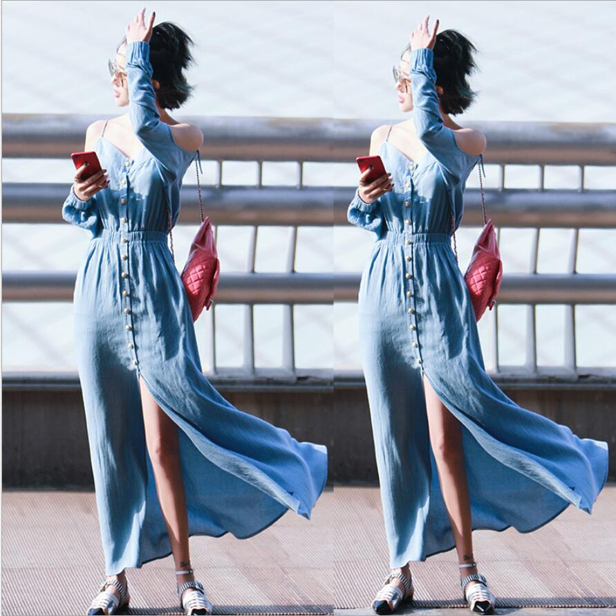 2017 Summer Women Dresses Blue White Sling Strapless Long Sleeves Harness Dress Open Long Vestido Longe De Playa D100