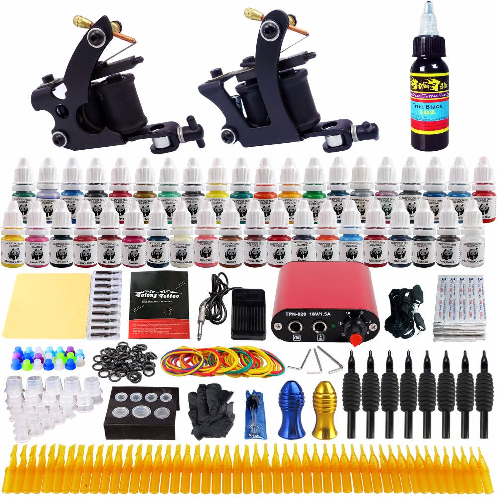 Solong Tattoo complete professional 2 tattoo Machine Guns set Tattoo Kit 40 Inks Power Supply Needle Grips power supply TK257 цена
