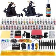 Solong Tattoo complete professional 2 tattoo Machine Guns set Tattoo Kit 40 Inks Power Supply Needle Grips power supply TK257 недорого