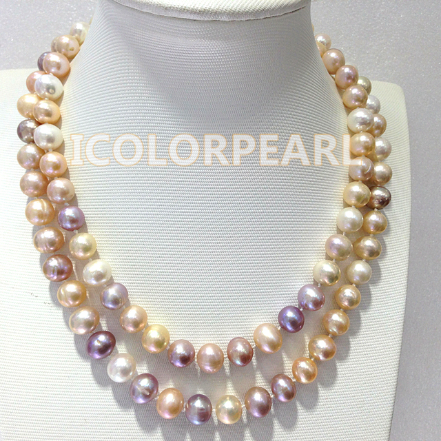 Lovely 85-90cm / 9-10mm Nearround White,Pink And Purple Real Freshwater Pearl Jewelry Necklace. Just For Girls!