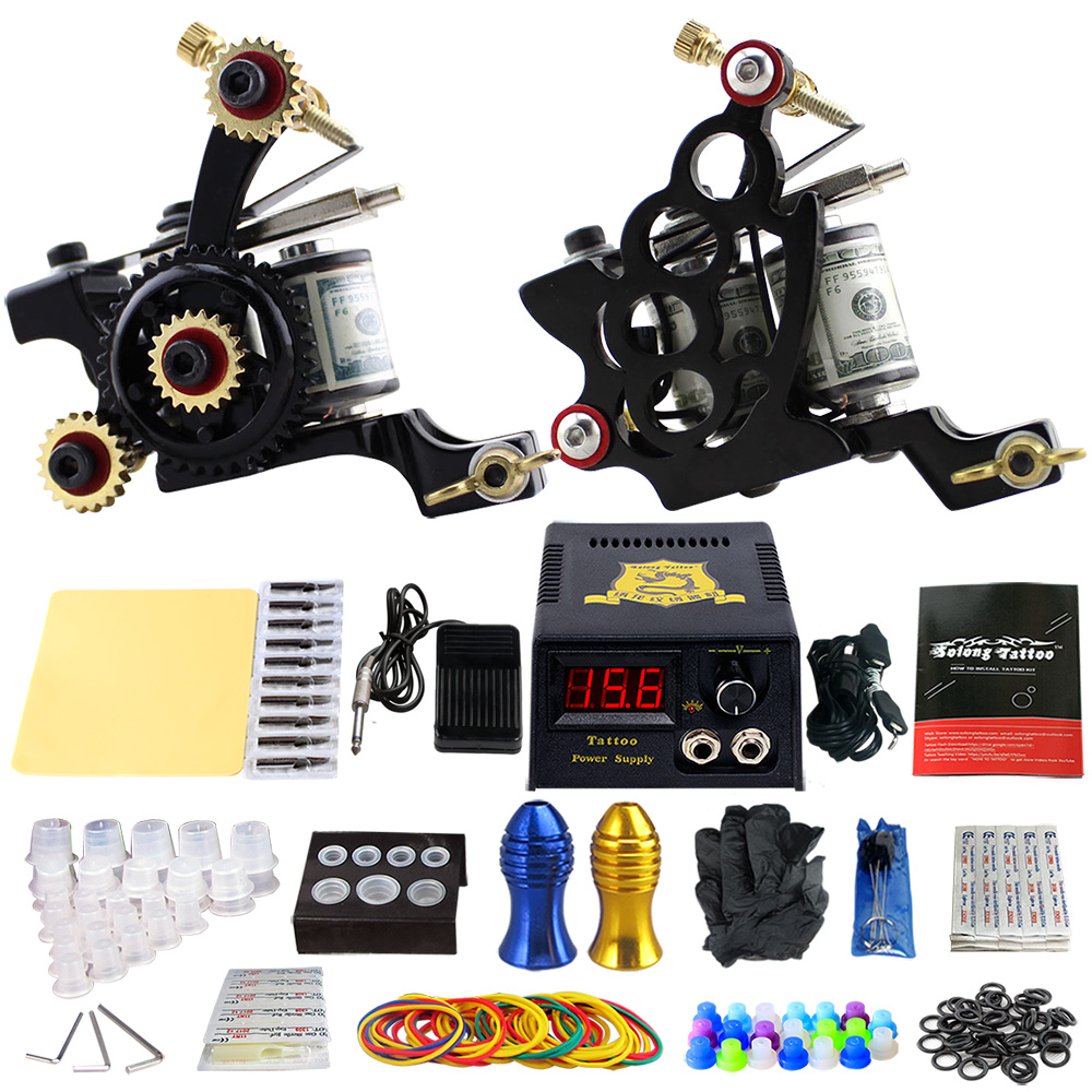 Solong Tattoo Pro Tattoo Kit 2 Rorary Tattoo Machine Gun Power Supply 1 Practice Skin Dual-sided Re-usable One Set TK202-12 miracool neck bandana re usable 100 s of times keeps you cool red 2 pack