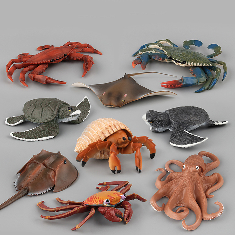 Ocean Sea Life Simulation Animal Model Figure Turtle Crab Action Toys Figures Kids Children Educational Collection Toys Gift image