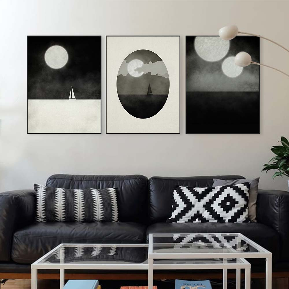 Triptych Abstract Seascape Canvas Art Print Poster Black White Moon Boat Wall Pictures Home Decor Paintings No Frame In Painting Calligraphy From
