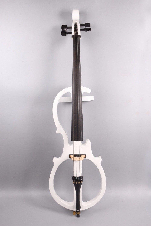 4/4 Electric Silent Cello Powerful Sound Ebony Part  White color#EC5 new 4 4 electric cello powerful sound ebony parts end pin tailpiece peg 1468