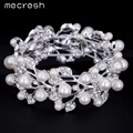 Mecresh Leaf Simulated Pearl Bridal Bracelet for Women Silver Plated Bracelets & Bangles Wedding Jewelry for Women SL142
