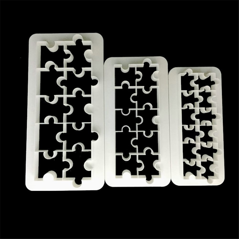 TTLIFE 3pcs Geometry Puzzle Shaped Cookie Cutter Fondant Cake Biscuit Mold Dessert Decorating Tools Pastry Cupcake Baking Moulds in Baking Pastry Tools from Home Garden
