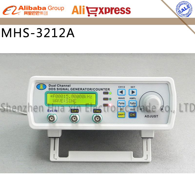 Free shipping MHS -3212A 12MHz DDS NC dual channel function signal generator,DDS signal source 4 kinds of waveform output 12 MHz daphne a source of pharmaceuticals