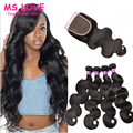 Human Hair 7A Peruvian Body Wave With Closure Peruvian Virgin Hair With Closure Body Wave Virgin Hair 3/4 Bundles With Closure