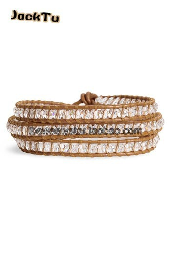 JACK TU clear crystal nuggets natural brown leather triple wrap bracelet