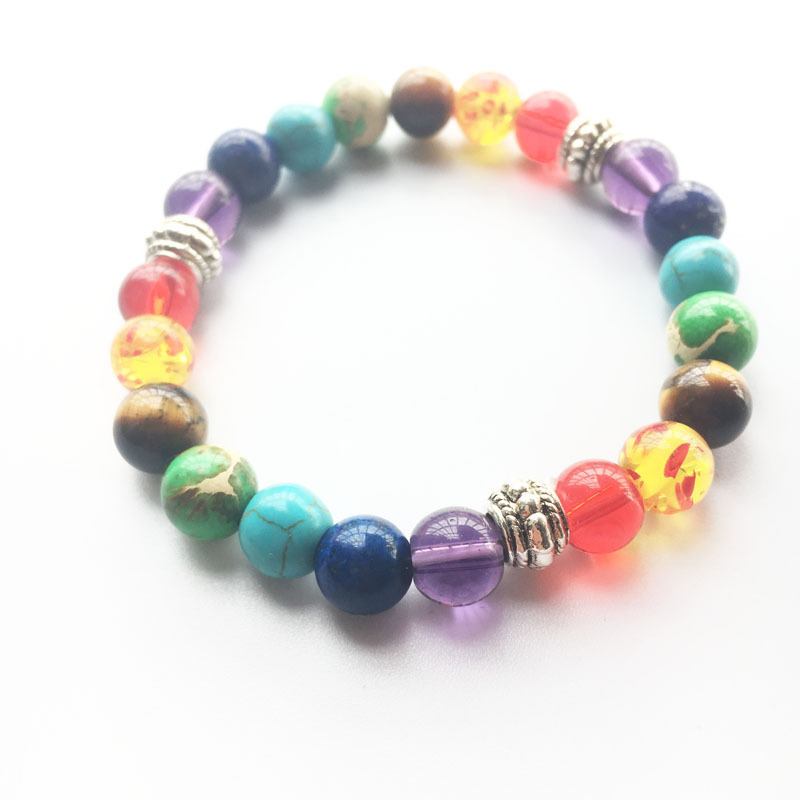 Trendy Yoga Rainbow Natural Stone Bracelets for Men Women Buddha Beads Chakra Bracelets Male Braslet Femme Pulseira Gift