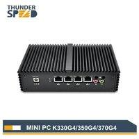 Без вентилятора Dual Core 4 LAN Mini PC i5 4200U 5250U Windows 10 Micro pc мини компьютер PFsense 1 кОм двойной WI FI маршрутизатор брандмауэра