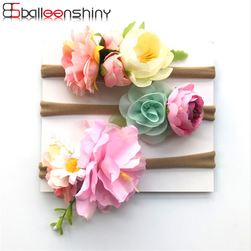 BalleenShiny 3 Pcs/lot Baby Girls Artificial Flower Headband Suit Fashion Princess Infant Newborn Hairband Photography Tool Gift