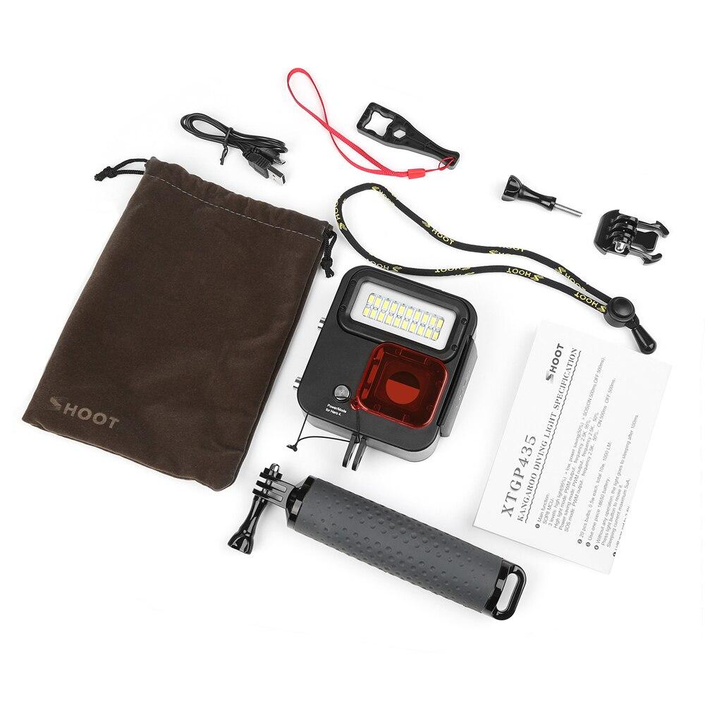 SHOOT 1000LM buceo luz LED funda impermeable para GoPro Hero 7 6 5 negro 4 3 + Cámara de Acción plateada con accesorio para Go Pro 6 5 - 4