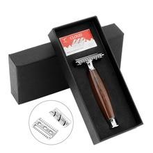 ZY Men Shaving Razor Double Edge Safety Razor Classic Close Shave Razor Comb Head Adjustable+10pcs Blade Black Gift Box