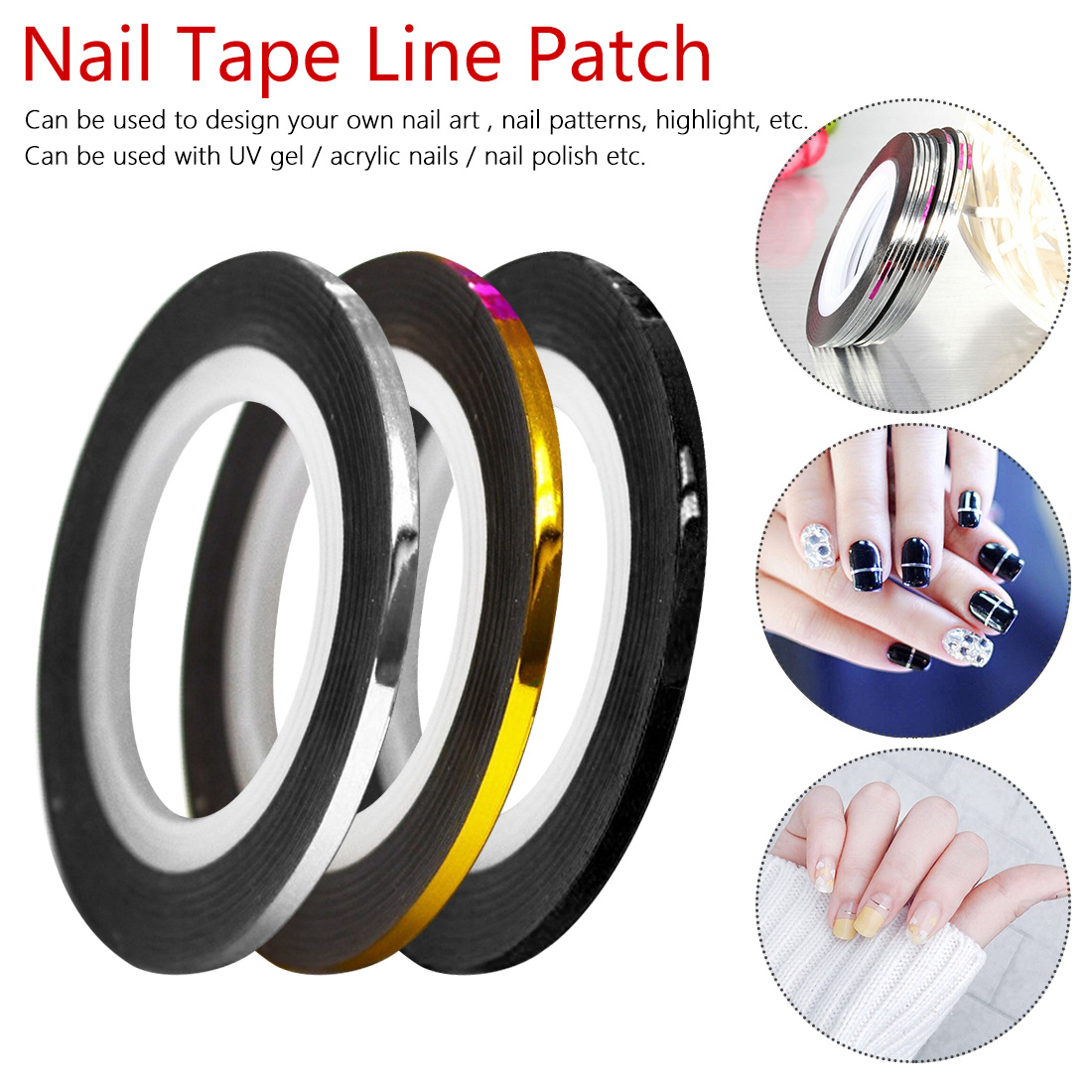 Beauty Roll Stripping Sticker Foils Nail Art Tape Line 1pcs 2mm 3mm DIY Silver Gold Black White Tools Manicure Tool