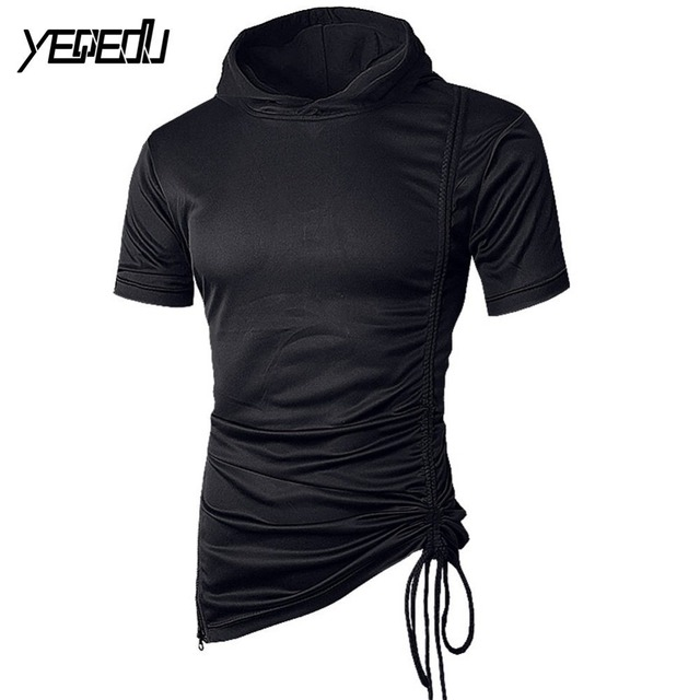 df2a6f87 #4107 European size Side zipper Tee shirt homme Short sleeve t-shirt men  Hooded