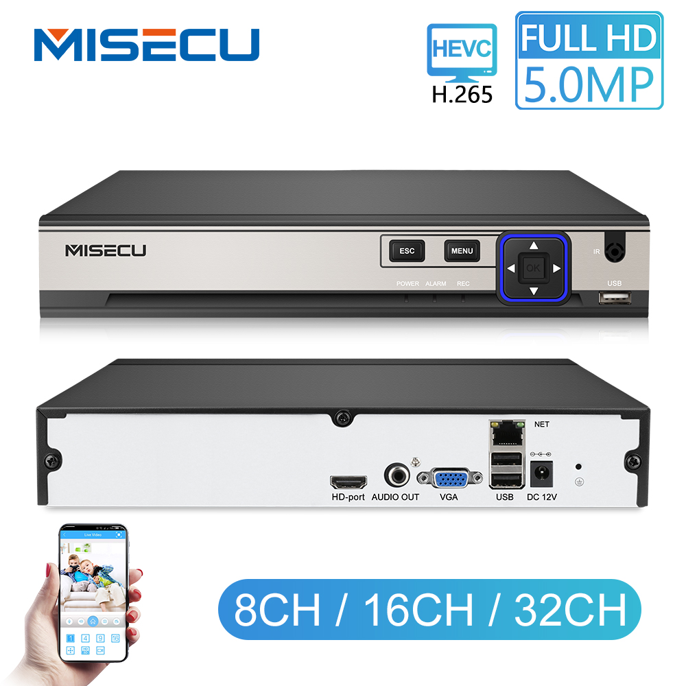 MISECU H.265 HEVC 8CH 16CH 32CH Security NVR For 5MP/4MP/3MP/2MP ONVIF IP Camera Metal Video Recorder P2P For CCTV System 1080P