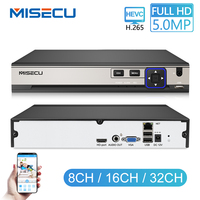 MISECU H.265 12V Video Surveillance NVR Recorder 32CH 6CH 8CH 5MP 4MP 2MP Output Motion Detect ONVIF Recorder for IP Camera