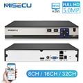 MISECU H.265 HEVC 8CH 16CH 32CH безопасность NVR для 5MP/4MP/3MP/2MP ONVIF ip-камера металлический видеорегистратор P2P для системы видеонаблюдения 1080P